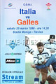 Italy v Wales 1999 rugby  Programme