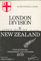 London Division v New Zealand 1979 rugby  Programme