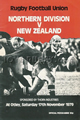 Northern Division v New Zealand 1979 rugby  Programme