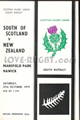 South of Scotland v New Zealand 1979 rugby  Programme