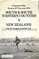 South-West and South Division v New Zealand 1979 rugby  Programme