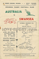 Swansea v Australia 1947 rugby  Programme