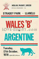 Wales B v Argentina 1978 rugby  Programme