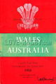 Wales v Australia 1958 rugby  Programmes