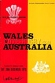 Wales v Australia 1975 rugby  Programmes