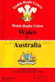 Wales v Australia rugby Programmes 1984