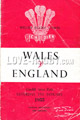 Wales v England 1955 rugby  Programmes