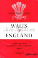Wales v England 1959 rugby  Programmes