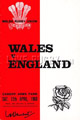 Wales v England 1969 rugby  Programmes