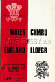 Wales v England 1977 rugby  Programmes