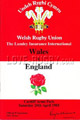 Wales v England 1985 rugby  Programme