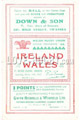 Wales v Ireland 1953 rugby  Programme