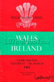 Wales v Ireland 1961 rugby  Programme
