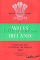 Wales v Ireland 1963 rugby  Programmes