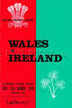 Wales v Ireland 1975 rugby  Programmes