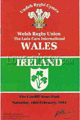 Wales v Ireland 1991 rugby  Programmes