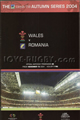 Wales v Romania 2004 rugby  Programme