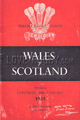 Wales v Scotland 1954 rugby  Programme