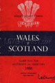 Wales v Scotland 1958 rugby  Programmes